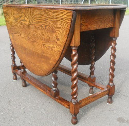 Large Oval Barley Twist Leg Gateleg Dining Table